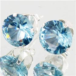 10twc Blue Lab Diamond Wh Gold Vermeil/925 Stud Earrings (JEW-4004)