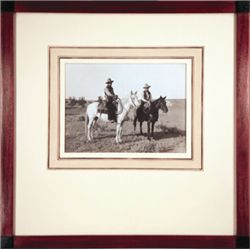 "L.A. Huffman, Two Cowboys, VCP, 1895, 7 1/8"" x 5 1/2"", framed"