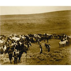 "L.A. Huffman, Rope Corral, Sepia, mounted on gatorboard, 23 13/16"" x 19 7/8"""