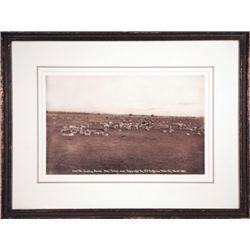 "L.A. Huffman, The Lambing Camp, Collotype, 1894, 12"" x 7 1/2"", framed"