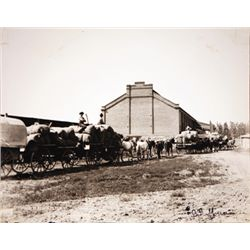 "L.A. Huffman, Wagon At Train Depot, FTSP, 8"" x 6 1/2"""