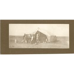 "L.A. Huffman, Camp Cook w/ Wranglers at Dinner, VCP, 9 3/8"" x 3 13/16"""