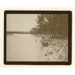 "L.A. Huffman, Fording the River, VCP on board in 100% rag book mat, 4 5/8"" x 3 5/8"""