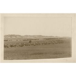 "L.A. Huffman, Herd Moving from Castle Creek on Powder River, VCP in 100% rag book mat, 8 1/8"" x 4 7/"