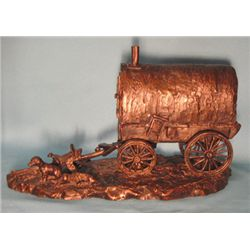 "Jim Bishop, First Camper-Sheep Wagon, bronze, AC-15, 1984, 8""h x 10""w"