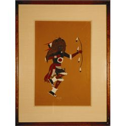 "Diego Salas, Buffalo Dance, Gouache & Watercolor, archivally mounted with silk mat, 1953, 8 7/8"" x 1"