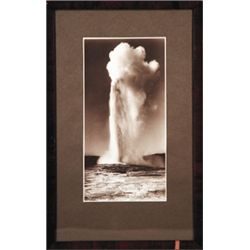 "F.J. Haynes, Old Faithful, Silver Print, on original Haynes emboss mount, ca. 1910, 4 9/16"" x 9 9/16"