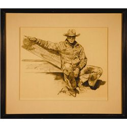 "Gordon Snidow, CA, Cowboy, Original Charcoal Drawing, 18"" x 24"""