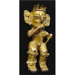 Pre-Columbian  gold male dancer pendant, open back casting, 600-900 A. D. Cocle Culture (Costa Rica)