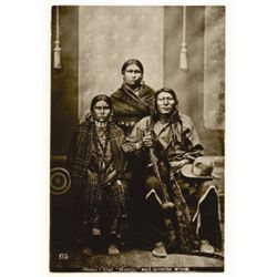 """L.A. Huffman, Sioux Chief Hump & wives, VCP in 100% rag book mat, 3 15/16"""" x 5 15/16"""""""