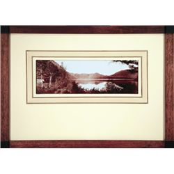 """L.A. Huffman, St. Mary's Lake, VCP, Near St. Ignatius/Mission Mtn., 11"""" x 3 5/8"""", framed"""