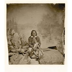 "L.A. Huffman, Spotted Bear - Hunkpapa Sioux, VCP in 100% rag book mat, 3 3/16"" x 4"""