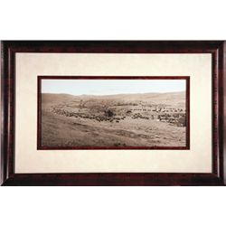 "L.A. Huffman, Throwing Rangers to the Round Up, Collotype, 19"" x 8 3/4"", framed"