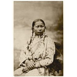 """L.A. Huffman, Spotted Fawn Cheyenne Girl of 13, VCP in 100% rag book mat, 4"""" x 6"""""""