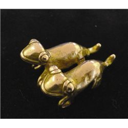 Pre-Columbian gold pendant, double lizards, 600-900 A. D. Cocle Culture, Costa Rica, lizards joined