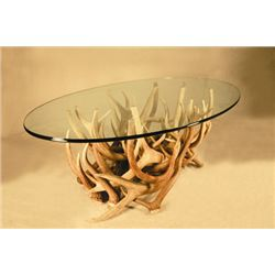 Elk antler coffee table, glass top, 28-3/4 x 50 Base=2ft x 39 x 16  1/2 inch glass