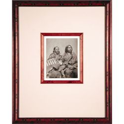 """L.A. Huffman, Man on the Hill & Wife Sioux, VCP, 3 7/8"""" x 5"""", framed"""