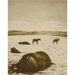 """L.A. Huffman, After the Buffalo Chase, Collotype, 100% rag book mats, 7 15/16"""" x 10"""""""