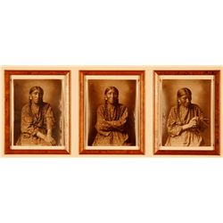 "L.A. Huffman, Mrs. White Elk, Triptych, less than 10 sets known to exist, 3 images, 3 3/4"" x5 1/4"" e"