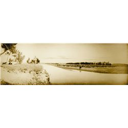 "L.A. Huffman, 106 in the Shade, Sepia, mounted on gatorboard, 44 5/8"" x 14 13/16"