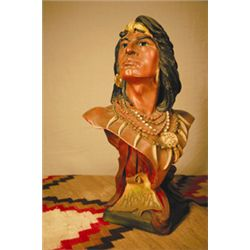 "Bust of Hiawatha, Painted Plaster Cast, ca. 1910, 19""h x 6""w"