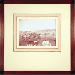 "L.A. Huffman, Branding Calves in Corral, VCP, archival French mat, 1890, 7 5/8"" x 5 5/8"", framed"