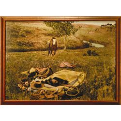 "L.A. Huffman, Night Hawk in His Nest, HC, 39"" x 29"", framed"