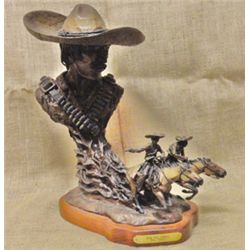 "Jerry Cooley, Run for Juarez, bronze, #4/25, 17""h x 15""w"