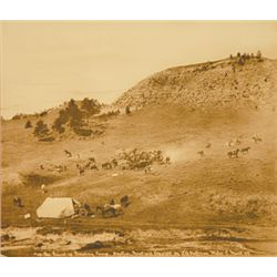 "L.A. Huffman, #176 The Roundup Breaking Camp, BWC, 1904, 11"" x 9 7/16"""