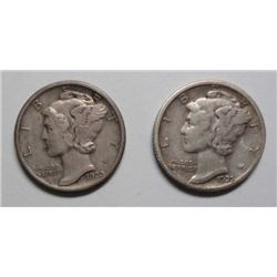 2 scarce mercury dimes 1920-D XF/AU sharp & original, 1925-S XF
