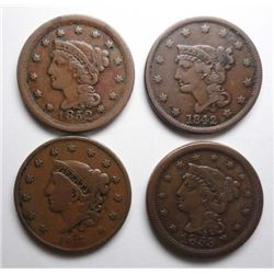 4 diff large cents 1837 Matron head F,1842 Med. date F,1852 VF,1853 VF/XF