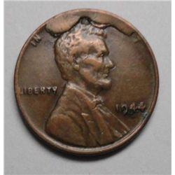"1944 Lincoln Cent Scarce error, XF, Extremely large CUD thru ""God We  Trust"""