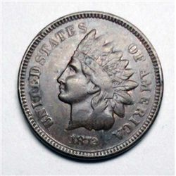 1872 Indian Cent Key Date AU, Choco Brown, minor rim bruise on rev.