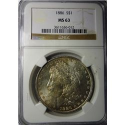 1886 MORGAN DOLLAR MS63 NGC