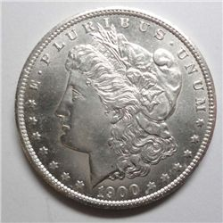 1900-S Morgan Dollar Ch BU 63 Exc eye appeal, cartwheel luster