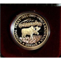 1985 NATIONAL PARK CANADA PROOF SILVER DOLLAR, MOOSE,