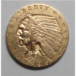 1915 2 1/2 Gold Indian AU55, Original patina