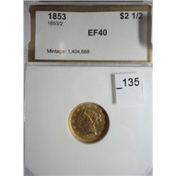 "PCI 1853/2 $2 1/2 Gold EF40, ""Priced as common date"""