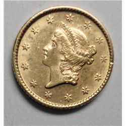 1853 $1 Gold T1 ChBu 60+ Well Struck Lustrus