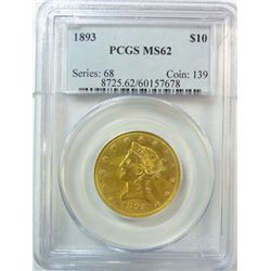 1893 $10 GOLD LIBERTY PCGS MS-62