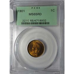 1901 INDIAN CENT PCGS MS-65 RED, GREEN LABEL