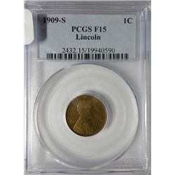 1909-S LINCOLN CENT PCGS F-VF 15
