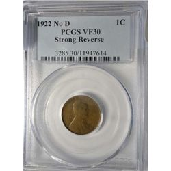 1922 NO D LINCOLN CENT PCGS VF-30 STRONG REVERSE