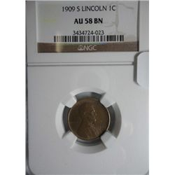 1909S Lincoln penny  NGC58BN