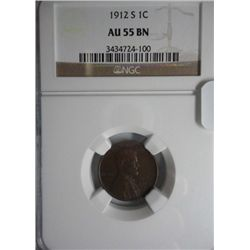 1912S Lincoln penny  NGC55BN