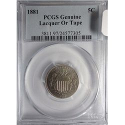 1881  Shield nickel  nice BU in a Genuine PCGS holder