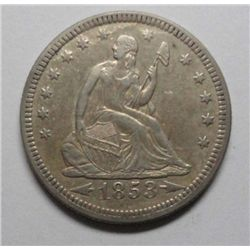 1853 AR/RYS   Seated quarter   XF45