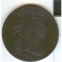 1798 WITH STEMS LARGE CENT XF RARE HIGH GRADE