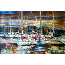 Embarcadero 1 Atardecer 24x36 Oil By Saco