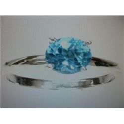 Natural 1.25 ctw Blue Topaz silver ring.